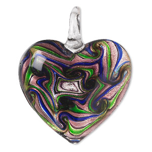 pendant, lampworked glass, multicolored with silver-colored foil, 47x40mm single-sided puffed heart with swirled design. sold individually.