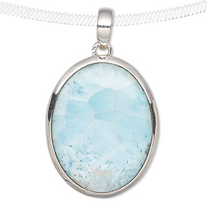 pendant, larimar (natural) and sterling silver, 32x22mm-40x30mm oval. sold individually.