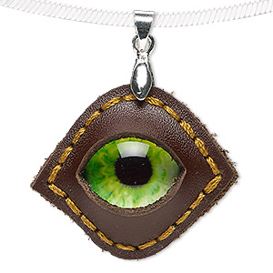 pendant, leather (dyed) / glass / silver-plated brass, green and multicolored, 37x31mm single-sided marquise with dragon eye. sold individually.