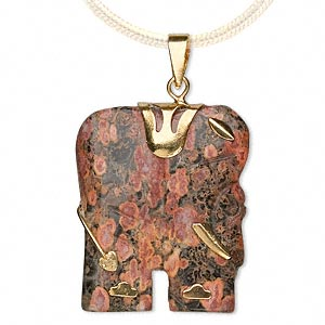 pendant, leopardskin jasper (natural) and gold-finished pewter (zinc-based alloy), 28x23mm-30x25mm single-sided elephant. sold individually.