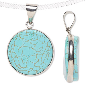 pendant, magnesite (dyed / stabilized) and imitation rhodium-plated brass, blue, 23mm wavy flat round. sold individually.