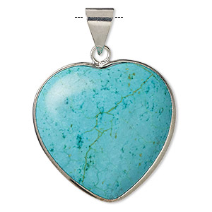 pendant, magnesite (dyed / stabilized) and imitation rhodium-plated brass, blue, 30x30mm double-sided heart, b grade, mohs hardness 3-1/2 to 4. sold individually.