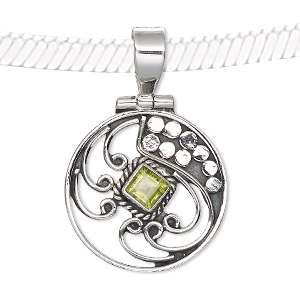 pendant, peridot (natural) and antiqued sterling silver, 25x23mm-36x24mm flat round with beaded and swirls design. sold individually.