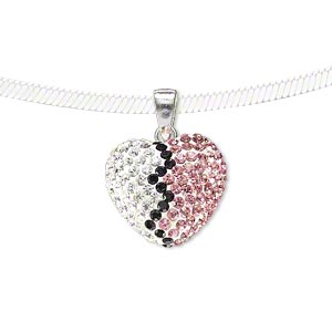 pendant, preciosa glass rhinestone / epoxy / sterling silver, pink / black / clear, 16x14mm double-sided puffed heart. sold individually.