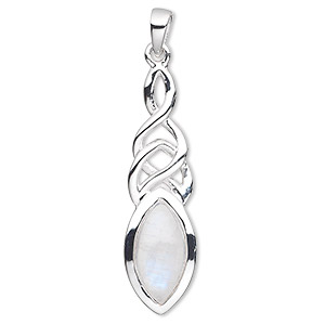 pendant, rainbow moonstone (natural) and sterling silver, 37mm with 14x7mm marquise. sold individually.