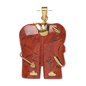 pendant, red jasper (natural) and gold-finished pewter (zinc-based alloy), 28x23mm-30x25mm single-sided elephant. sold individually.