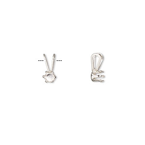 pendant, snap-tite, sterling silver, 4mm 6-prong round setting sold per pkg of 2.