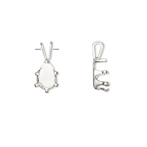 pendant, snap-tite, sterling silver, 9x6mm 6-prong pear setting sold per pkg of 2.