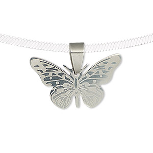 pendant, stainless steel, 28x16.5mm two-sided matte and shiny etched butterfly. sold individually.