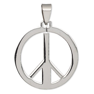pendant, stainless steel, 32mm round with cutout peace sign. sold individually.