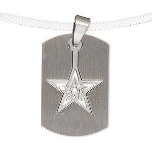 pendant, stainless steel, 32x21mm matte and shiny rounded rectangle with cutout star. sold individually.
