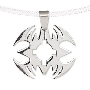 pendant, stainless steel, 32x28mm-33x28mm with cutout. sold individually.