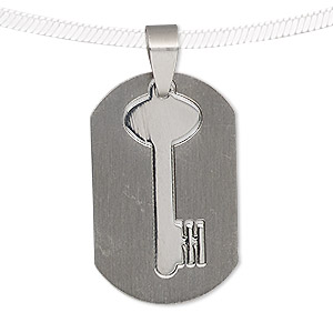pendant, stainless steel, 33x21mm matte and shiny rounded rectangle with cutout key. sold individually.