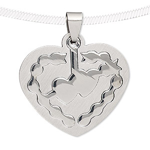 pendant, stainless steel, 35x33mm matte and shiny heart with cutout heart. sold individually.