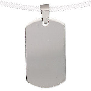 pendant, stainless steel, 36x21mm rounded rectangle. sold individually.