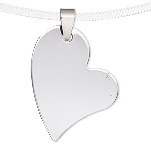 pendant, stainless steel, 36x30mm-36x31mm matte and shiny heart. sold individually.