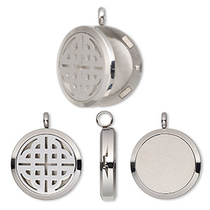 pendant, stainless steel, 37x30mm hinged round locket with single-sided cutout celtic knot and magnetic closure. sold individually.