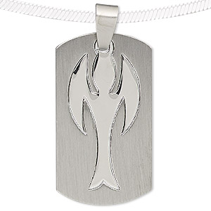 pendant, stainless steel, 39x22mm matte and shiny rounded rectangle with cutout angel. sold individually.
