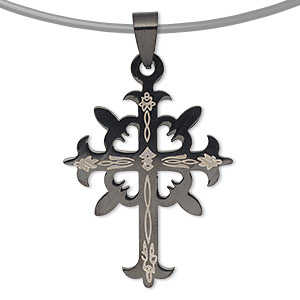 pendant, stainless steel and enamel, black, 37x30mm single-sided cross. sold individually.