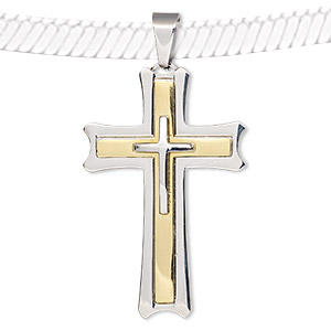 pendant, stainless steel and gold-finished stainless steel, 57x36mm cross. sold individually.