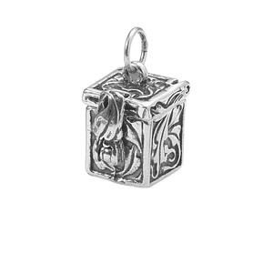 pendant, sterling silver, 12x11mm square prayer box with safety. sold individually.