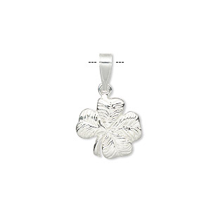 pendant, sterling silver, 13x13mm single-sided 4-leaf clover. sold individually.