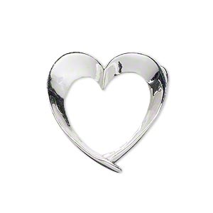 pendant, sterling silver, 25x24.5mm open heart with hidden tube bail. sold individually.