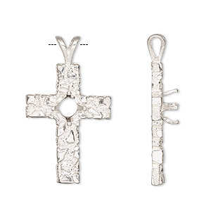 pendant, sterling silver, 30.5x17.5mm 4-prong cross with 6mm round setting. sold individually.