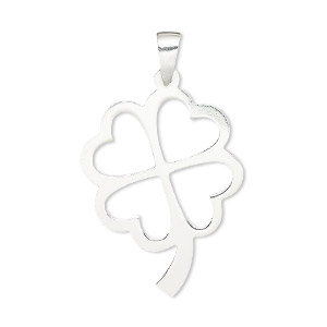 pendant, sterling silver, 34x20mm open 4-leaf clover. sold individually.