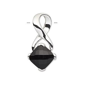 pendant, sterling silver and black onyx (dyed), 31x15mm with 10x10mm faceted cushion. sold individually.