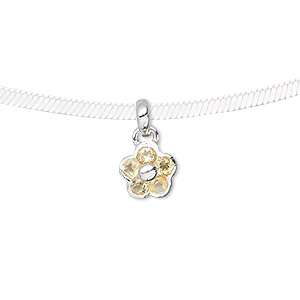 pendant, sterling silver and citrine (dyed), 3mm faceted rounds, 15x9mm flower. sold individually.