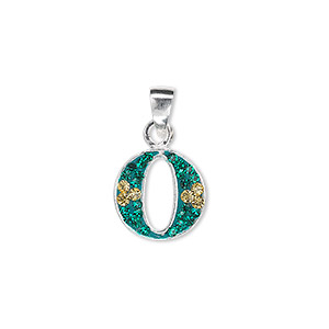 pendant, sterling silver and crystal, emerald and light topaz, 12x12mm letter o. sold individually.
