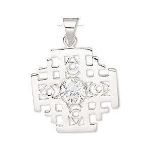 pendant, sterling silver and cubic zirconia, clear, 25x25mm single-sided cross. sold individually.