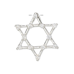 pendant, sterling silver and cubic zirconia, clear, 29x29mm single-sided open star of david with hidden bail. sold individually.