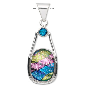 pendant, sterling silver and dichroic glass, purple / green / blue, 20x12.5mm oval cabochon and 5.5mm round cabochon, 38.5x17.5mm overall. sold individually.