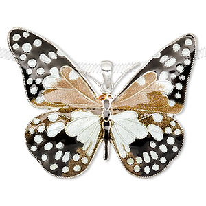pendant, sterling silver and enamel, black / brown / white, 52x40mm butterfly. sold individually.