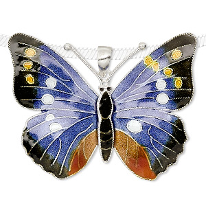 pendant, sterling silver and enamel, multicolored, 45x35mm butterfly. sold individually.