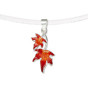 pendant, sterling silver and enamel, red and orange, 24x12mm single-sided maple leaves. sold individually.
