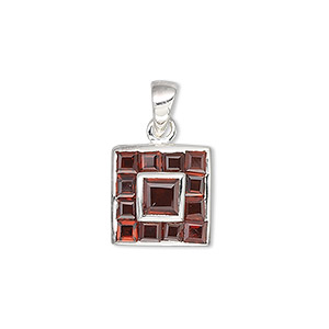 pendant, sterling silver and garnet (natural), 2mm and 4mm faceted squares, 13x13mm square. sold individually.