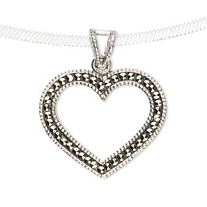 pendant, sterling silver and marcasite, 32x27mm open heart. sold individually.