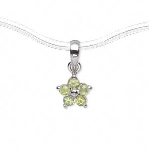 pendant, sterling silver and peridot (natural), 10x10mm flower with (5) 6mm faceted rounds. sold individually.