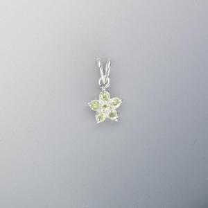 pendant, sterling silver and peridot (natural), 2mm faceted round, 17x9mm flower. sold individually.