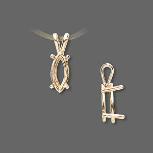 pendant, sure-set™, 14kt gold, 12x6mm with 4-prong marquise basket setting. sold individually.