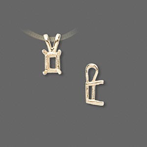 pendant, sure-set™, 14kt gold, 7x5mm with 4-prong emerald-cut basket setting. sold individually.