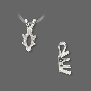 pendant, sure-set™, sterling silver, 10x5mm 6-prong marquise basket setting. sold individually.