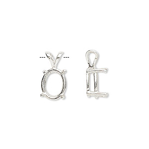 pendant, sure-set™, sterling silver, 10x8mm 4-prong oval basket setting. sold individually.