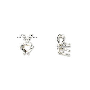 pendant, sure-set™, sterling silver, 6x6mm 6-prong heart basket setting. sold individually.