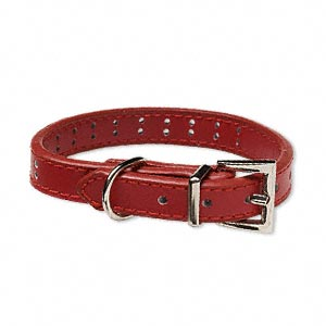 pet collar, leather and pewter (zinc-based alloy), red, 1/2 inch wide, adjustable from 8-1/2 to 11-1/2 inches. sold individually.