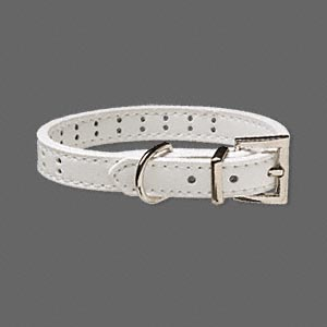 pet collar, leather and pewter (zinc-based alloy), white, 1/2 inch wide, adjustable from 8-1/2 to 11-1/2 inches. sold individually.