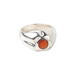 Finger Rings Carnelian Silver Colored